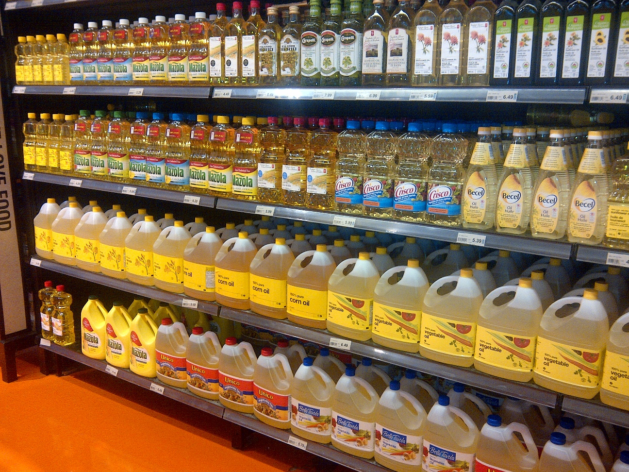 Vegetable Oils in grocery store